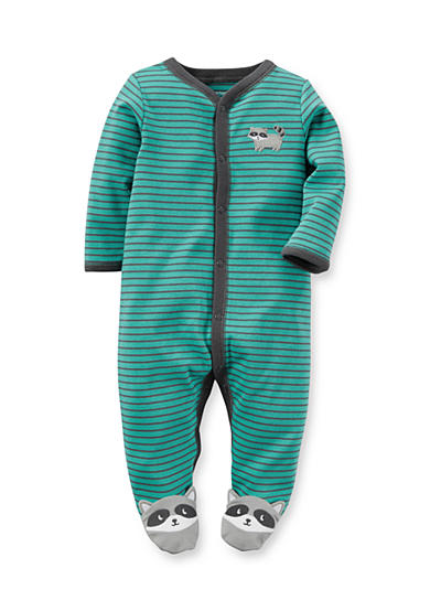 Carter's® Infant Turquoise Stripe Raccoon 1-Piece Footed Pajamas