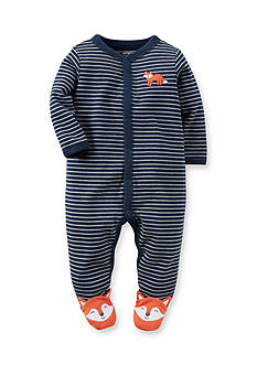 Carter's Newborn Navy Stripe Fox Footed 1-Piece Pajamas