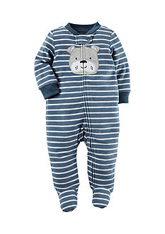 Carter's Striped Puppy Print 1-Piece Footed Pajama