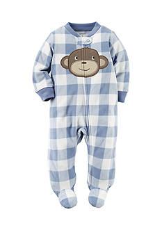 Carter's Monkey Print 1-Piece Footed Pajama