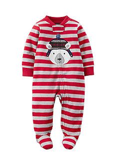 Carter's Polar Bear Striped 1-Piece Footed Pajama