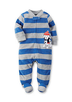 Carter's Striped Dog Print 1-Piece Footed Pajama
