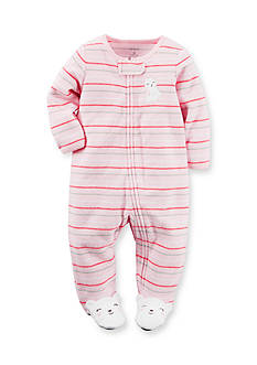 Carter's® Newborn Terry Pink Cat 1-Piece Footed Pajamas