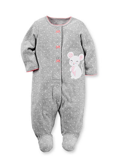 Carter's® Newborn Gray Terry Polka Dot Mouse 1-Piece Footed Pajamas