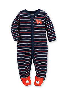 Carter's Newborn Navy Stripe Tiger Footed 1-Piece Pajamas