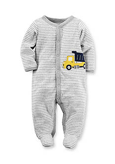 Carter's Newborn Grey Stripe Truck Footed 1-Piece Pajamas