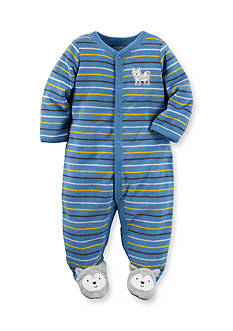 Carter's Newborn Blue Stripe Wolf Footed 1-Piece Pajamas