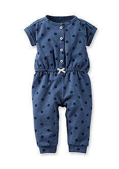 Carter's® Newborn Faux Chambray Polka Dot French Terry Jumpsuit