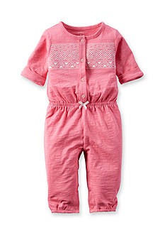 Carter's Newborn Pink Lace Jersey Jumpsuit