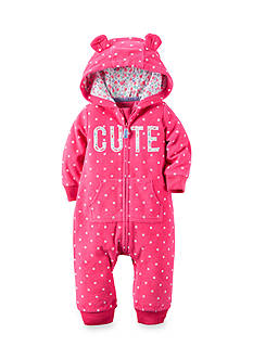 Carter's® Hooded 'Cute' Fleece Jumpsuit