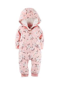 Carter's Hooded Floral Fleece Jumpsuit