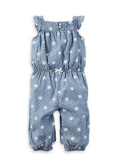 Carter's Chambray Polka Dot Jumpsuit