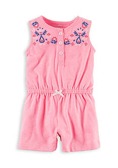 Carter's Neon Floral Embroidered Romper
