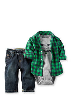 Carter's® 3-Piece 'Lucky Charm' Tee, Plaid Woven Shirt and pant Set