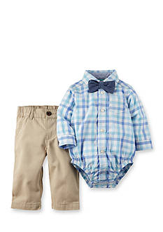 Carter's® 2-Piece Woven Plaid Shirt, Solid Bowtie and Pant Set