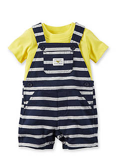 Carter's® 2-Piece Solid Tee and Stripe Overall Set