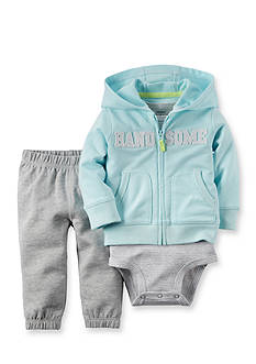 Carter's® 3-Piece Stripe Bodysuit, 'Handsome' Cardigan, and Pant Set