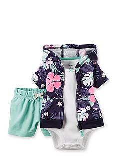 Carter's® 3-Piece Floral Cardigan and Short Set