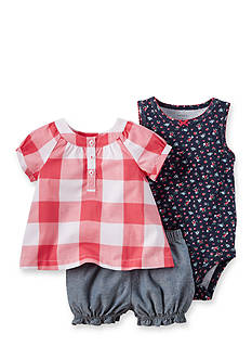 Carter's® 3-Piece Floral Bodysuit, Check Top, and Short Set