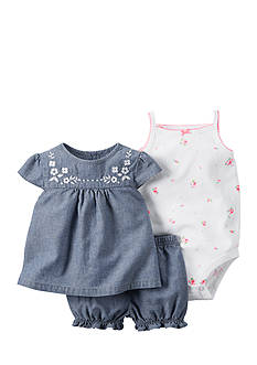 Carter's® 3-Piece Floral Bodysuit, Chambray Top and Short Set