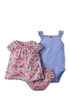 Carter's® 3-Piece Dot Bodysuit, Floral Top and Diaper Cover Set