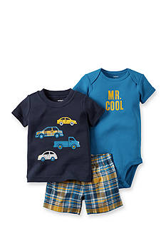 Carter's® 3-Piece Bodysuit, Printed Cars Tee, and Plaid Short Set