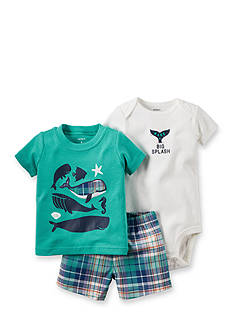Carter's® 3-Piece Printed Bodysuit, Whale Tee, and Plaid Short Set