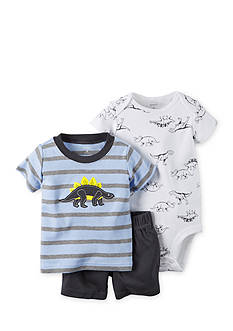 Carter's® 3-Piece Dino Stripe Tee, Printed Bodysuit, and Short Set