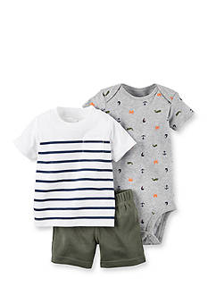 Carter's® 3-Piece Stripe Tee, Nautical Print Bodysuit and Short Set