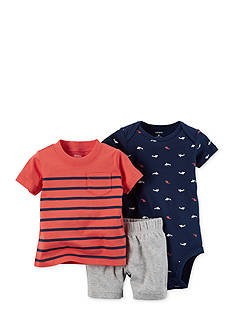 Carter's® 3-Piece Sharks and Stripes Short Set