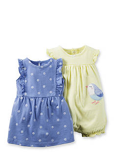 Carter's® 2-Piece Bird Stripe Romper and Printed Dress Set
