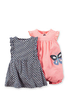 Carter's® 2-Piece Butterfly Stripe Romper and Geo Print Dress Set