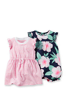 Carter's® 2-Pack Tropical Romper and Stripe Dress Set