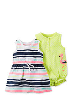 Carter's® 2-Pack Flamingo Snap Romper and Striped Dress Set