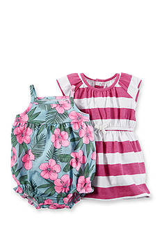 Carter's® 2-Pack Hibiscus Print Romper and Stripe Dress Set