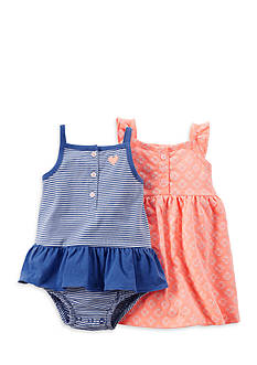 Carter's® 2-Pack Stripe and Embroidered Dress Set