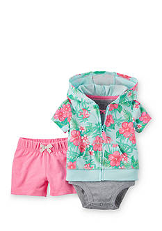 Carter's® 3-Piece Floral Cardigan and Shorts Set