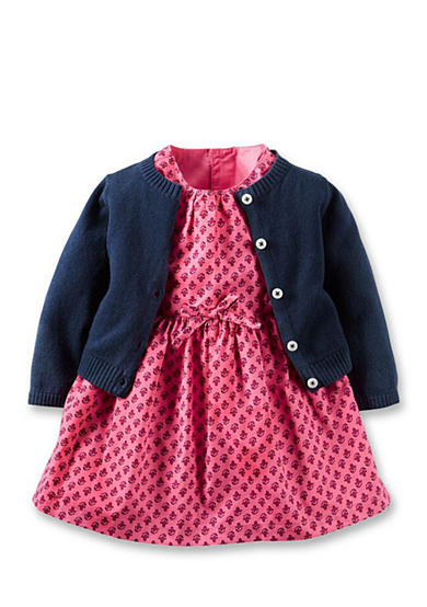 Carter's® 3-Piece Geometric Dress & Cardigan Set