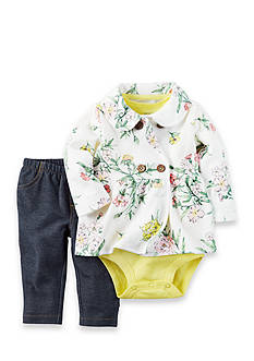 Carter's 3-Piece Floral Onesie, Cardigan, and Pants Set