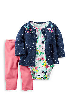 Carter's 3-Piece Dot Embroidered Cardigan, Onesie, and Pants Set