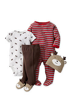 Carter's® 4-Piece Striped Sleep and Play, Reindeer Bodysuit, Pants and Hat Set