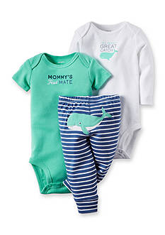 Carter's® 3-Piece Printed Bodysuits and Striped Pant Set