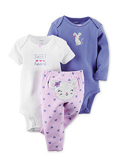 Carter's® 3-Piece Printed Bodysuits and Mouse Heart Pant Set