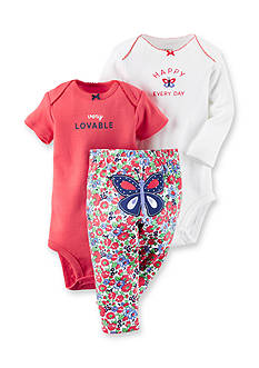Carter's® 3-Piece Printed Bodysuits and Butterfly Floral Pant Set