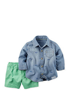 Carter's® 2-Piece Dino Print Chambray Shirt and Shorts Set