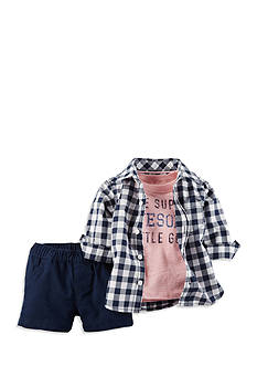 Carter's® 3-Piece 'Awesome' Plaid Shirt and Short Set