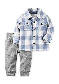 Carter's® 2-Piece Sherpa-Lined Button-Front Top And Fleece Pant Set