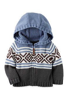 Carter's® Hooded-Zip Front Fair Isle Cardigan