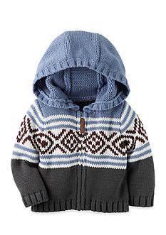 Carter's Hooded-Zip Front Fair Isle Cardigan