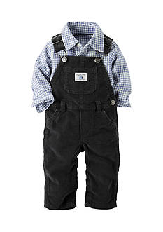 Carter's® 2-Piece Button-Front Shirt And Overalls Set